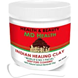 MD Health Indian Healing Clay Deep Pore Cleansing Facial and Body & Mask Skin Care Product, The Original 100% Natural…
