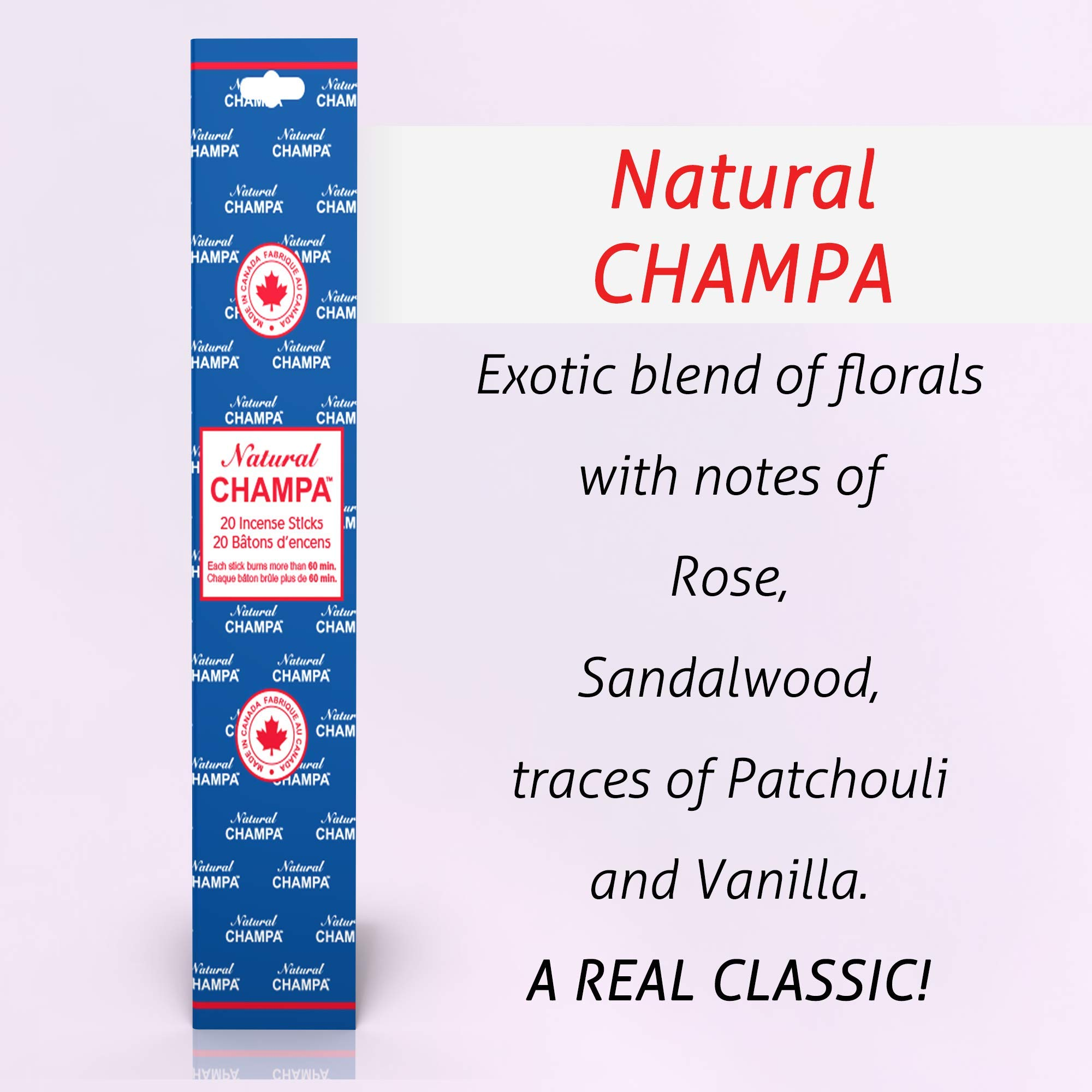 Natural Champa Incense Set - Classic Blended Collection of 140 Sticks with Free Incense Burner - Lasts 60+Minutes by Natural Champa (Image #2)