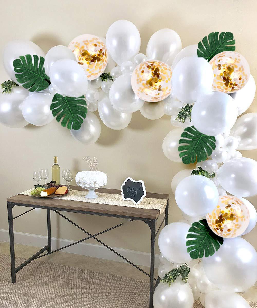 JOYMEMO Ballons Blancs pour Guirlande et Arc avec Simulation de Feuille Ruban /à Lisser et Outil de Liaison Ballons /à Confetti dor/é