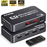 4K HDR HDMI Switch, Koopman 3 Ports 4K 60Hz HDMI 2.0 Switcher Selector with IR Wireless Remote, Supports UltraHD Dolby Vision, High Speed(Max to 18.5Gbps), HDR10, HDCP 2.2 & 3D