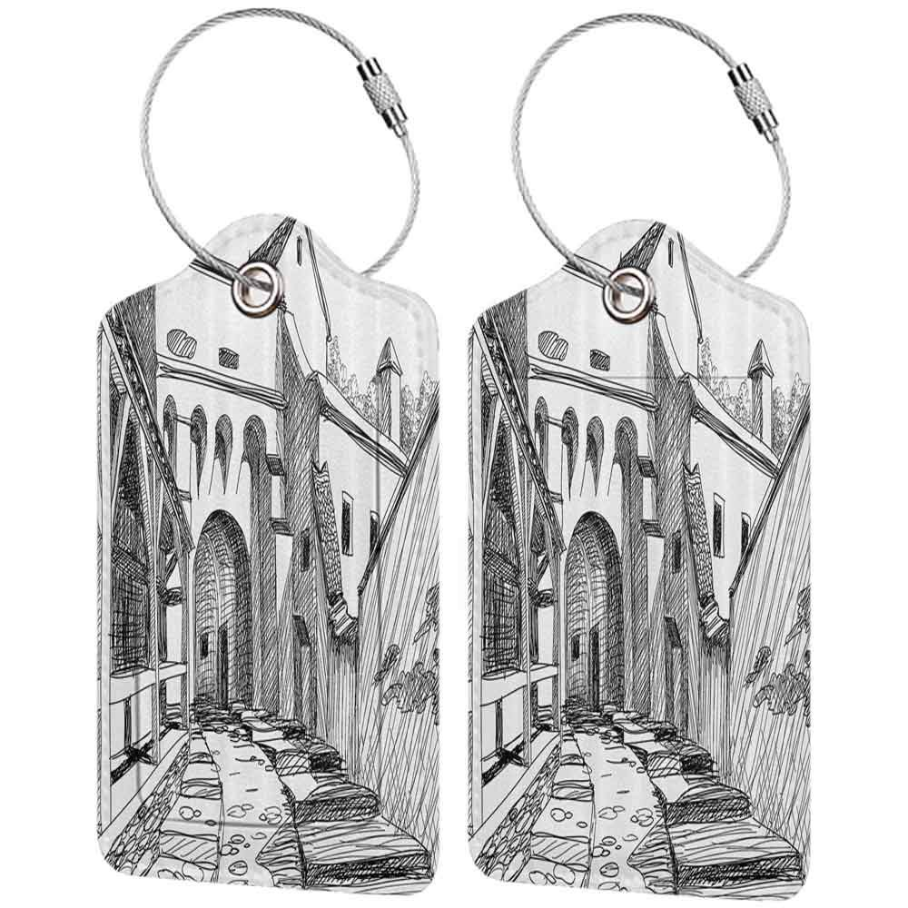 Multicolor luggage tag Medieval Decor Collection Medieval Citadel Sketch House of Legendary Vampire Dracula Old Mystical Tales Art Work Hanging on the suitcase Black White W2.7 x L4.6