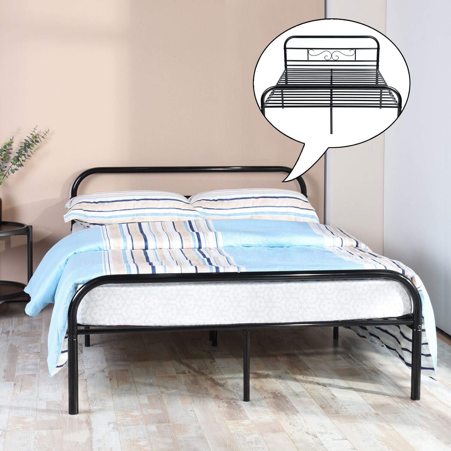 Aingoo Lit Simple En Metal Design 1 Place Cadre De Lit Simple Avec