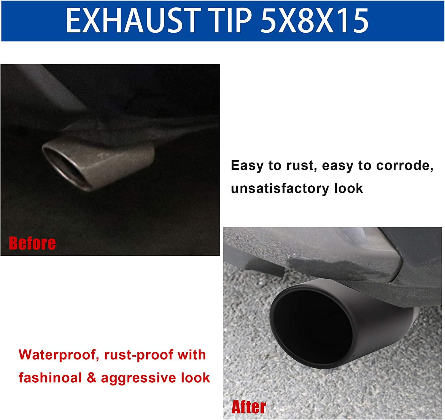 3 inlet to 4.5 outlet Exhaust TIP,3 x 4.5 x 9 in Black Stainless Steel Exhaust Tip Bolt On Design