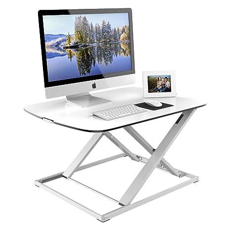 1home Sentada-Levantada Mesa Súper Delgada Ajustable en Altura Compacta Escritorio para Ordenador Blanco