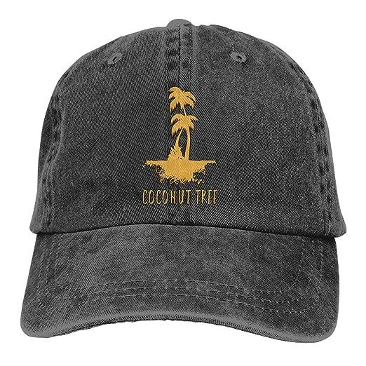a7a2c749add Men Women Coconut Tree Vintage Washed Dad Hat Cute Adjustable Baseball Cap  Black