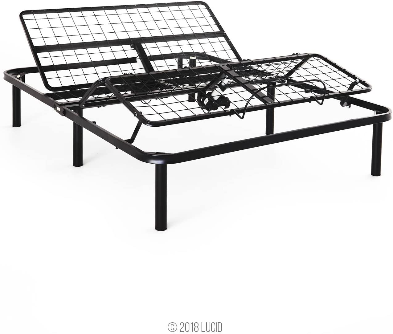Head and Foot Incline 5 Minute Assembly Wired Remote Control LUCID L100 Adjustable Bed Base Steel Frame Queen