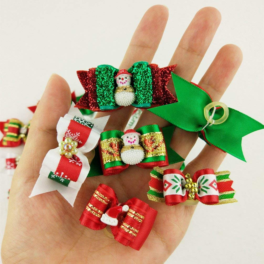 Hixixi 50pcs//Pack Dog Puppy Cat Christmas 3D Rhinestone Hair Bows with Rubber Bands Flat Pet Xmas Grooming Accessories