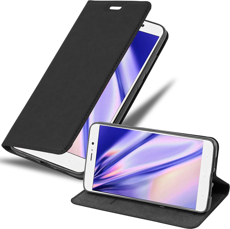 Cadorabo Funda Libro para Xiaomi Mi 5S Plus en Negro Antracita - Cubierta Proteccíon con Cierre Magnético, Tarjetero y Función de Suporte - Etui Case Cover Carcasa