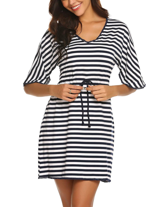 Nachthemd Damen Tunika Pyjama Oberteil Kleid Einteiliger Schlafanzug Gestreiftes Frauen Cover up Sommer Negligee