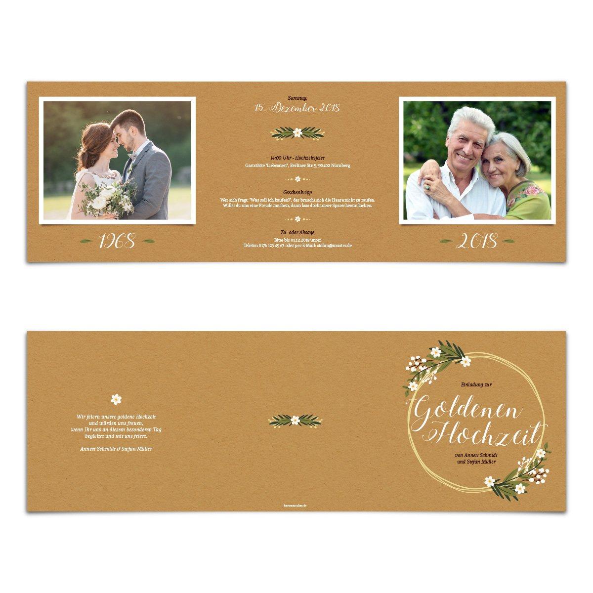 20 x Hochzeitseinladungen Goldhochzeit Goldene Hochzeit Einladung individuell - - - AltGold B07DQXN28L | Sonderpreis  | Schönes Design  | Elegante Form  be71ba