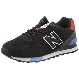 New Balance Men's 574v2 Sneaker, Black/Velocity RED, 13 D US