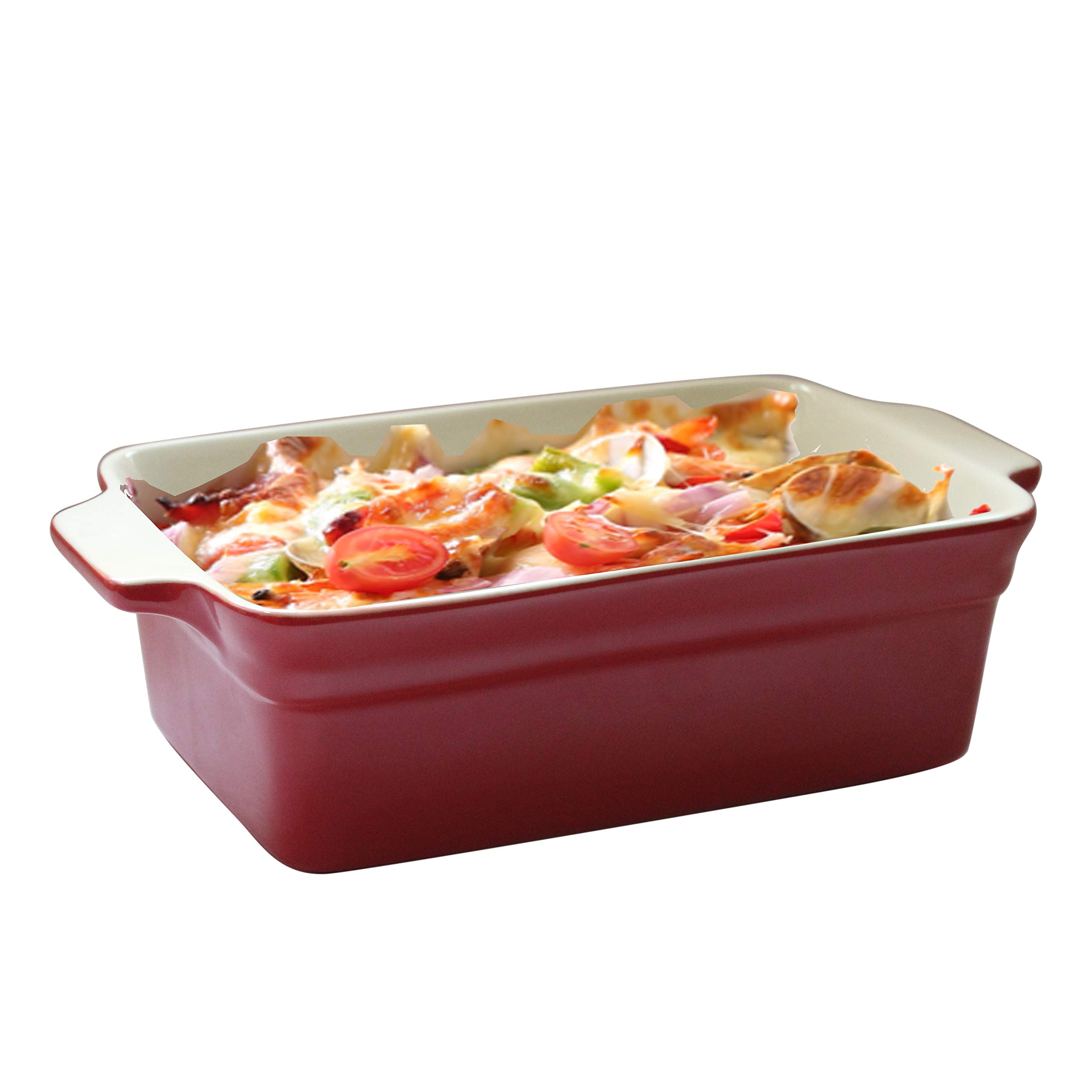 Lonovel Rectangular Baking Dish Roasting Lasagna Pan,11.5-Inch Classic Stoneware Ceramic Large Rectangular Bakers,Red by Lonovel (Image #2)