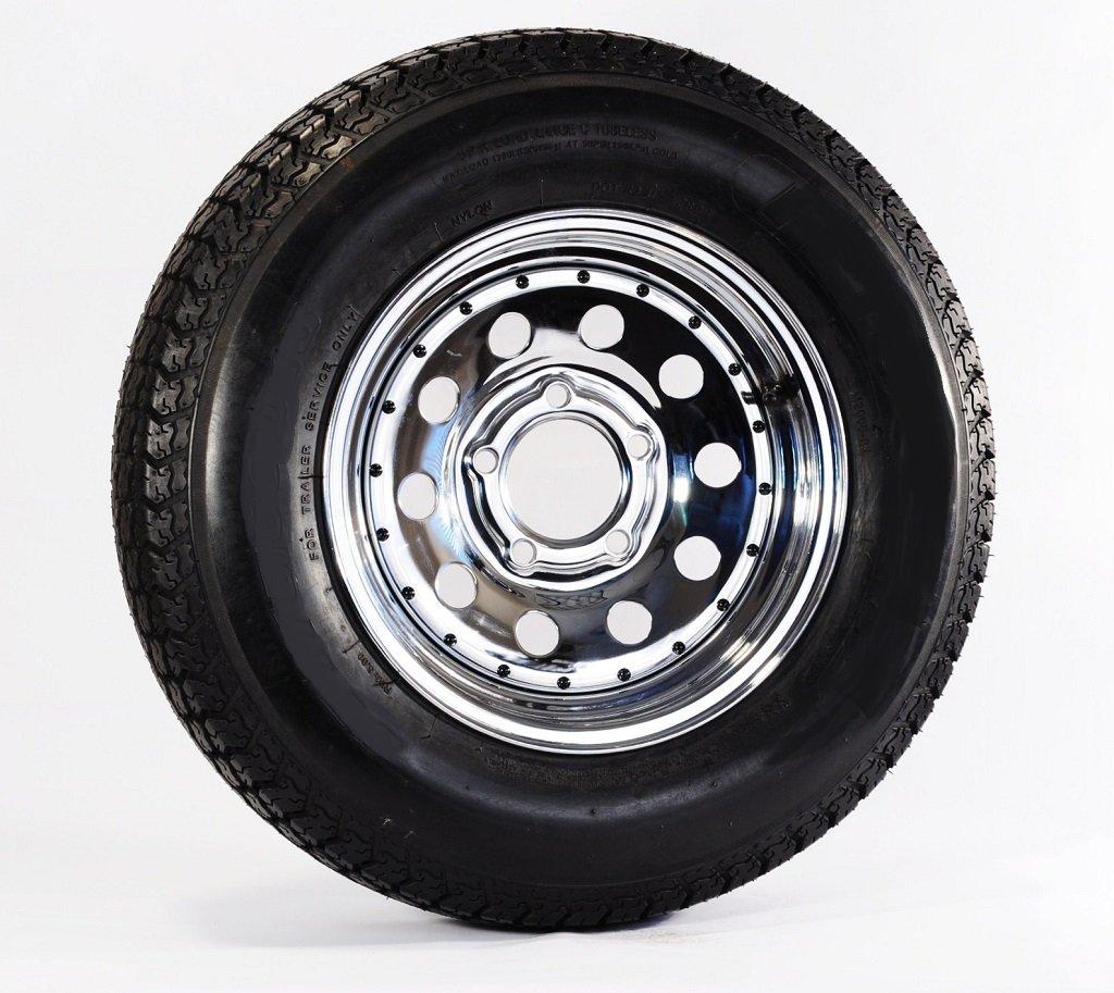 Trailer Tire + Rim F78-14 14'' ST 14'' 5 Lug Hole Bolt Wheel Chrome Mod W/Rivets