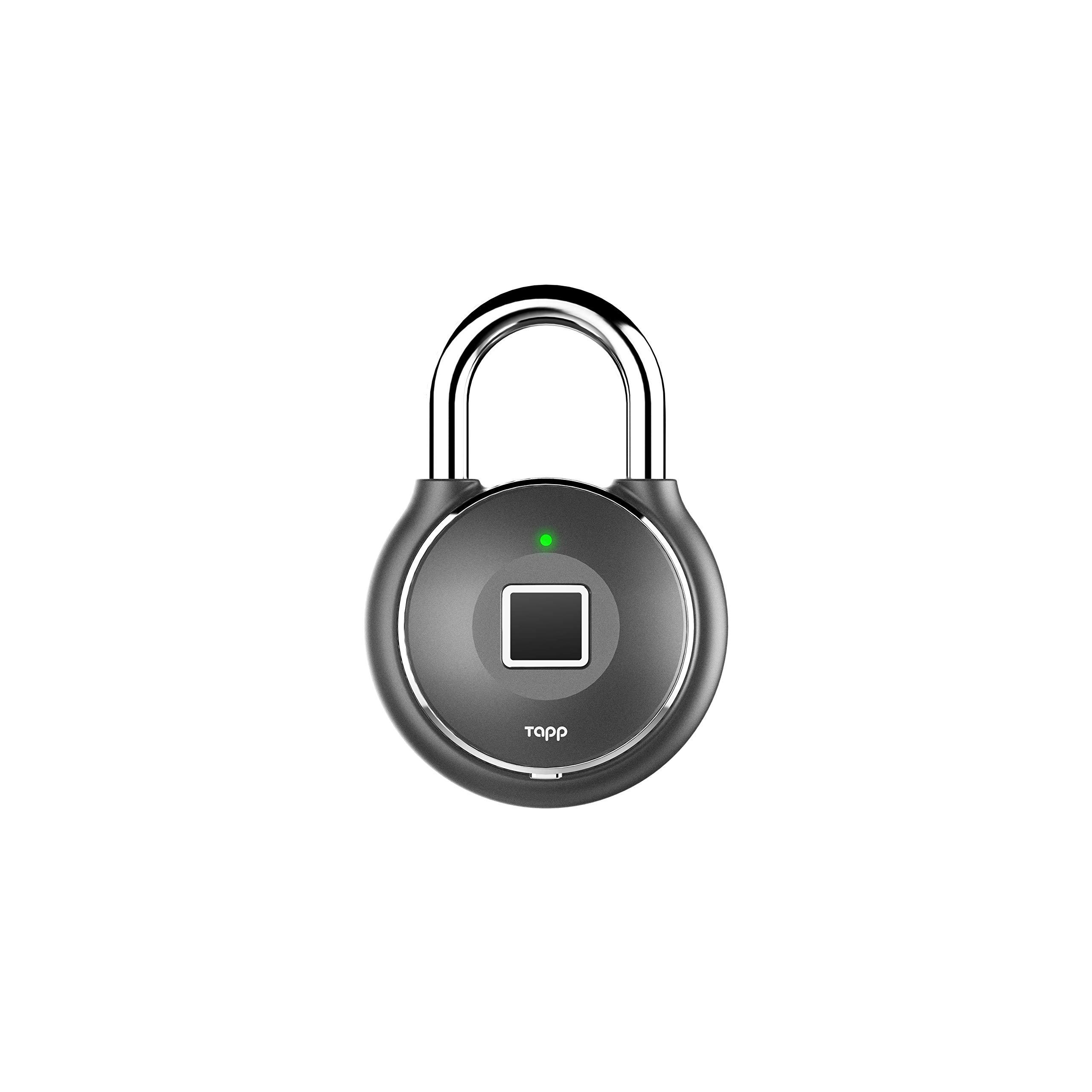 Tapplock one+ Gun Metal Fingerprint Bluetooth Biometric Keyless Smart Padlock by Tapp