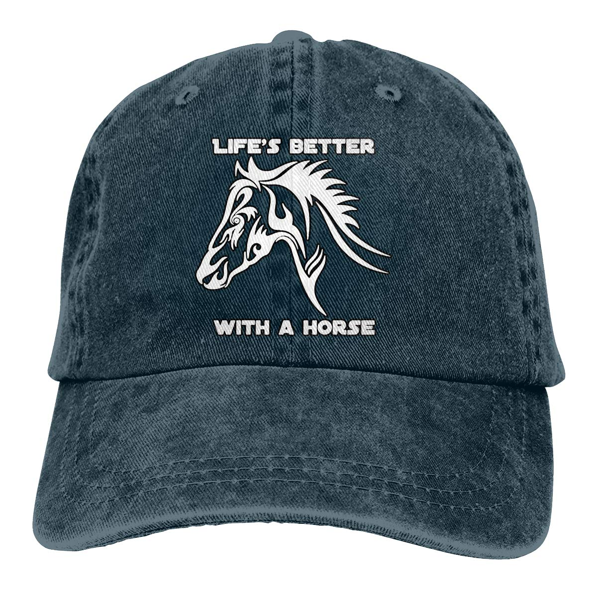 Unisex Life is Better with A Horse Vintage Washed Dad Hat Popular Adjustable Baseball Cap