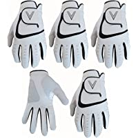 5 White Men's All Weather Golf Gloves Cabretta Leather Thumb & Palm Patch