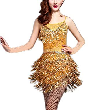 891a8c15f61 Ladies Fringe Flapper Inspired Jazz Dance Team Costume Dresses in the 1920s  Gold