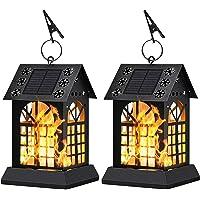 2-Pack Sunklly Metal Flickering Flame Hanging Solar Lights