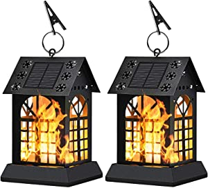 Solar Lanterns - Solar Lights Metal Flickering Flame Hanging Solar Lights Waterproof Umbrella LED Flame Lights Hanging Lamps for Garden Patio Pathway Deck Yard (2 Pack)