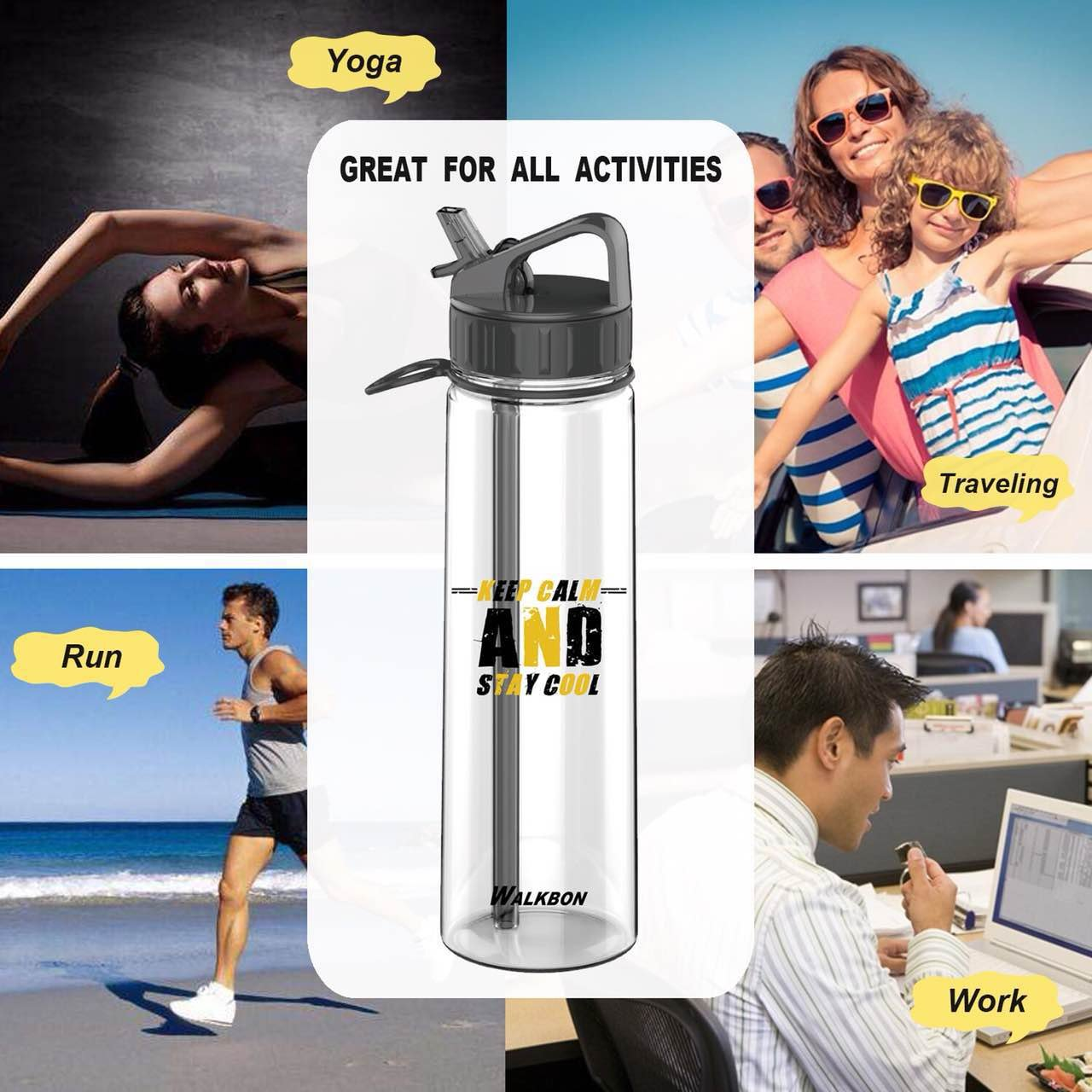 900ML L1 Insulated Bottle for Outdoor Sport Hydration FDA Approved BPA-Free Mist Water Bottle /… Black-Yellow, 30OZ Black, 20OZ Keepax Sports Water Bottle