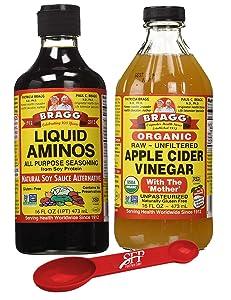 Bragg's Health Variety Pack: Bragg Organic Liquid Aminos 16 oz + Bragg's Apple Cider Vinegar Organic Raw Unfiltered, 16 Oz