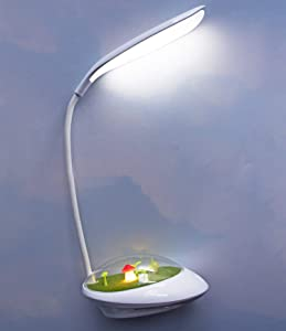 LuxLumi White LED Desk Lamp & Mushroom Night Light Dimmable Rechargeable for Kids Bedroom Nursery Toddler Home Decor Reading Study Dorm Easter Gift