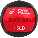 Day 1 Fitness Soft Wall Medicine Ball 15 Pounds RED/BLACK - for Exercise, Rehab, Core Strength, Large Durable Balls for…