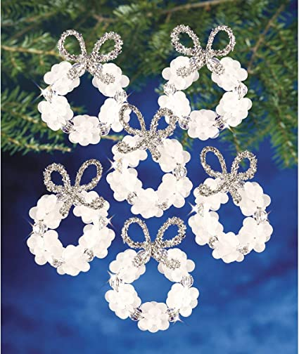 Makes 16 Ornaments Beadery BOK-7128 Holiday Beaded Ornament Kit 2.25-Inch Frosted Wreath