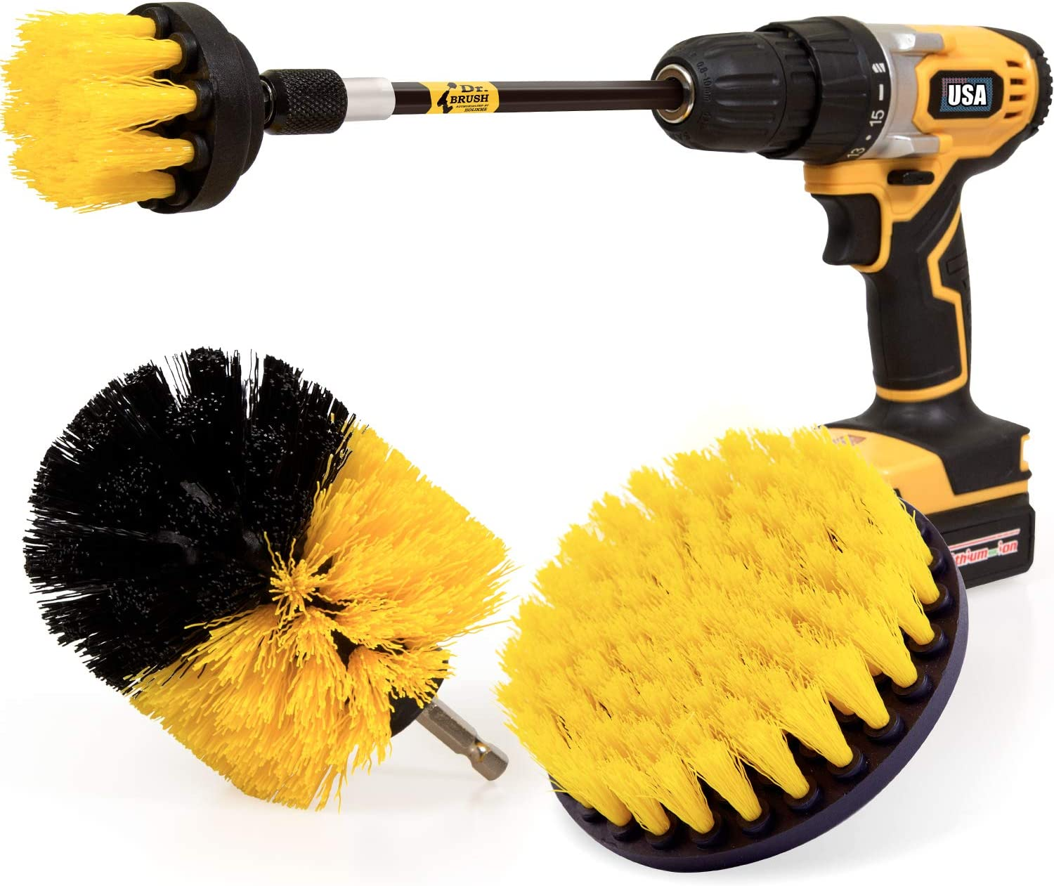 4Pcs//Set Drill Brush Bathroom Tile Grout All Purpose Power Scrubber Cleaning Kit