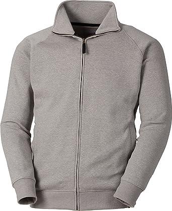 ColorU - Sweatjacke Herren   Damen grau Unisex Sweater ohne Kapuze mit  Stehkragen und Reißverschluss 49b751f68b