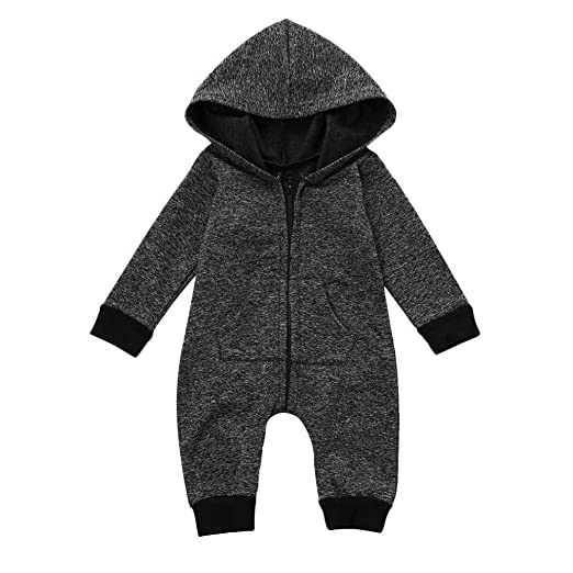 9090187fb21 FEITONG Cute Infant Baby Boys Girls Romper Hooded Jumpsuit Bodysuit Clothes  Outfit (Gray