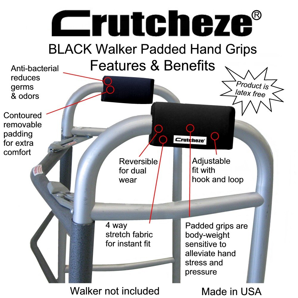 Crutcheze Walker Padded Hand Grip Covers Made in USA Moisture Wicking, Antibacterial, Comfort, Fashion, Washable Orthopedic Products Accessories (Black) by Crutcheze (Image #2)