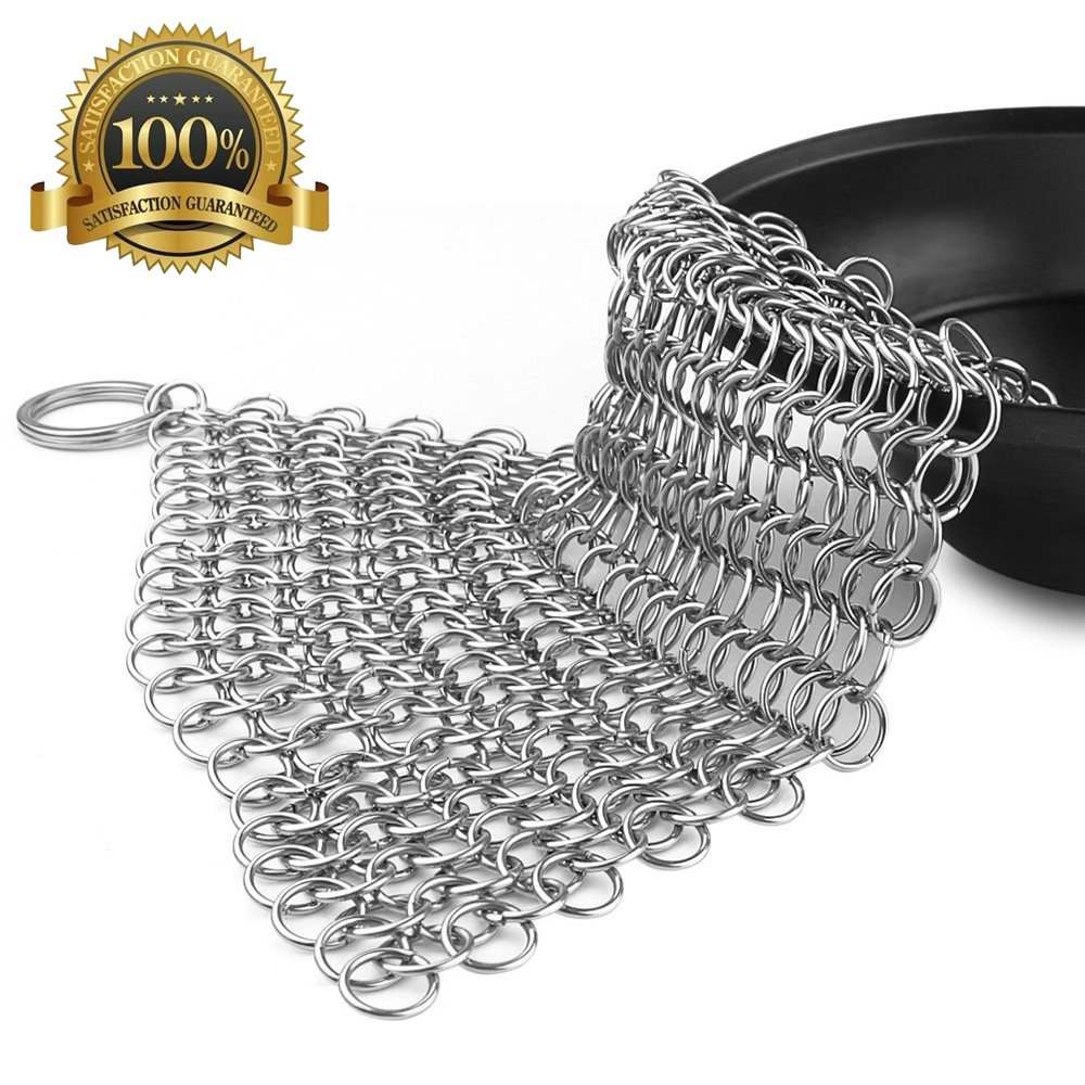 Cast Iron Cleaner-Stainless Steel Chainmail Scrubber -Premium Anti-Rust 316L Stainless Steel Cleaner for Cast Iron Skillets, Cookware,Griddles, Pre-Seasoned Pans or Woks (Square, 8'' X 8'')