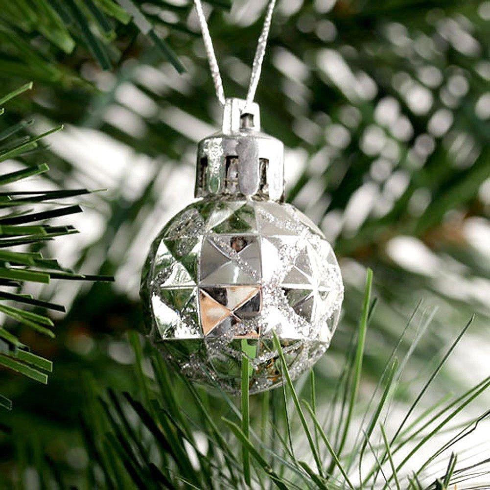 Yoption 12Pcs 28MM Christmas Ornaments Plastic Glitter Shiny Balls Hanging Xmas Tree Decoration Ornament Balls Baubles (Silvery)