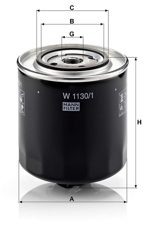 Para autom/óviles transportadoras y veh/ículos de utilidad MANN-FILTER Original Filtro de Aceite W 1130//1