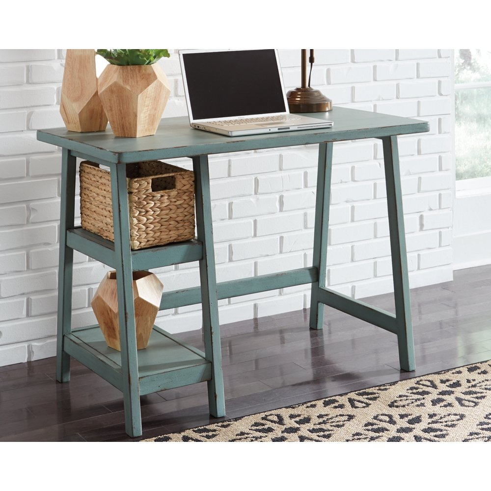 Ashley Furniture Signature Design - Mirimyn Small Home Office Desk - 2 Shelves - Includes Brown Basket - Distressed Antique Teal by Signature Design by Ashley (Image #3)