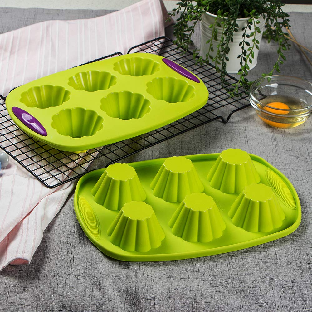 Webake Silicone Brioche Molds, 6 Cup Fluted Brioche Pans for Baking, Pudding, Tart, Muffin Cake Pan Flower Cake Mold Egg Bites Bakeware Set 2 Pack by Webake (Image #4)