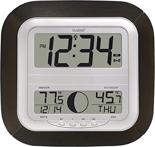 LA CROSSE TECHNOLOGY WS-8418U-IT DIGITAL ATOMIC WALL CLOCK w// MOON PHASE