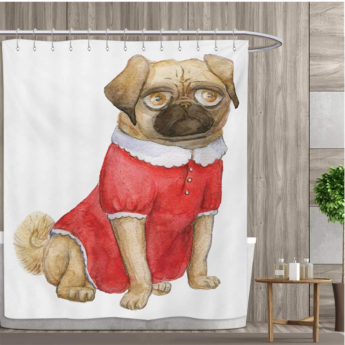 smallfly Pug Shower Curtains Fabric Cute Dog in Red Dress Animal Cartoon Style Design Funny Pet Picture Print Bathroom Accessories 54''x84'' Pale Brown Red Brown
