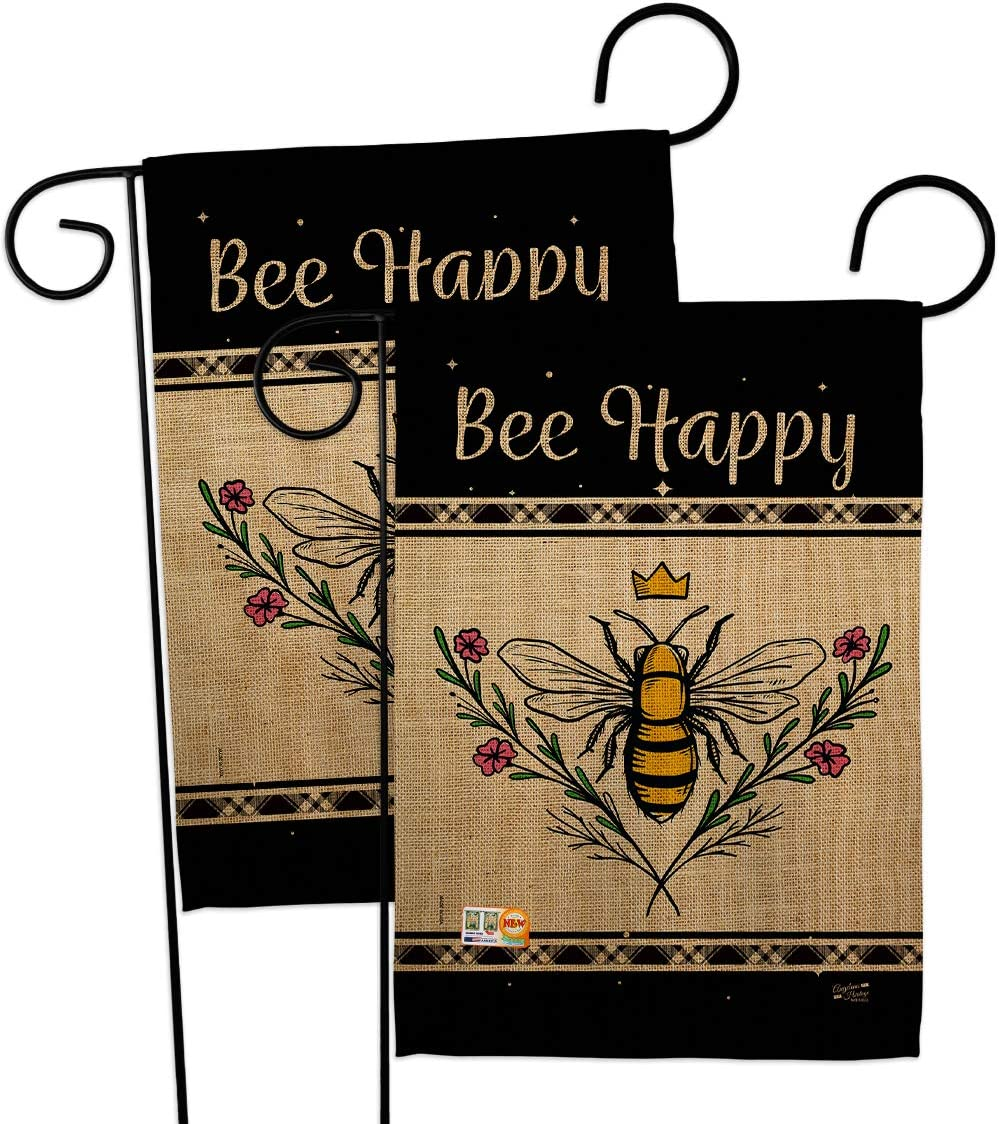 Bugs & Frogs Queen Bee Happy Garden Flags 2pcs Pack Friends Butterfly Ladybugs Dragonfly Springtime Insect Natural Wildlife Small Decorative Gift Yard House Banner Double-Sided Made In USA 13 X 18.5