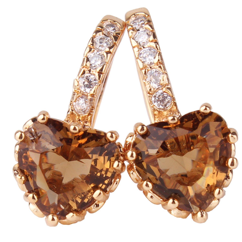 GULICX Women Jewelry Gold Tone Smoky Topaz Color hoop glitter earrings