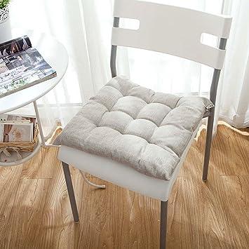 LJu0026XJ Esszimmer Stühle Kissen,Leinen Kissen Verdickung Solide Farbe  Stuhlkissen Mit Krawatten Sitzkissen Für Büro