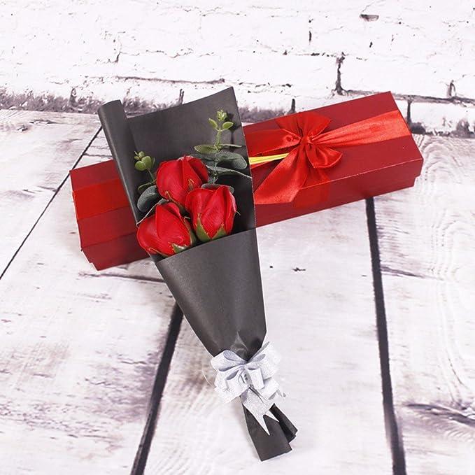 Jabón, flores, cajas de regalo, tres rosas, arcos, San Valentín, regalos de Navidad,gules: Amazon.es: Hogar