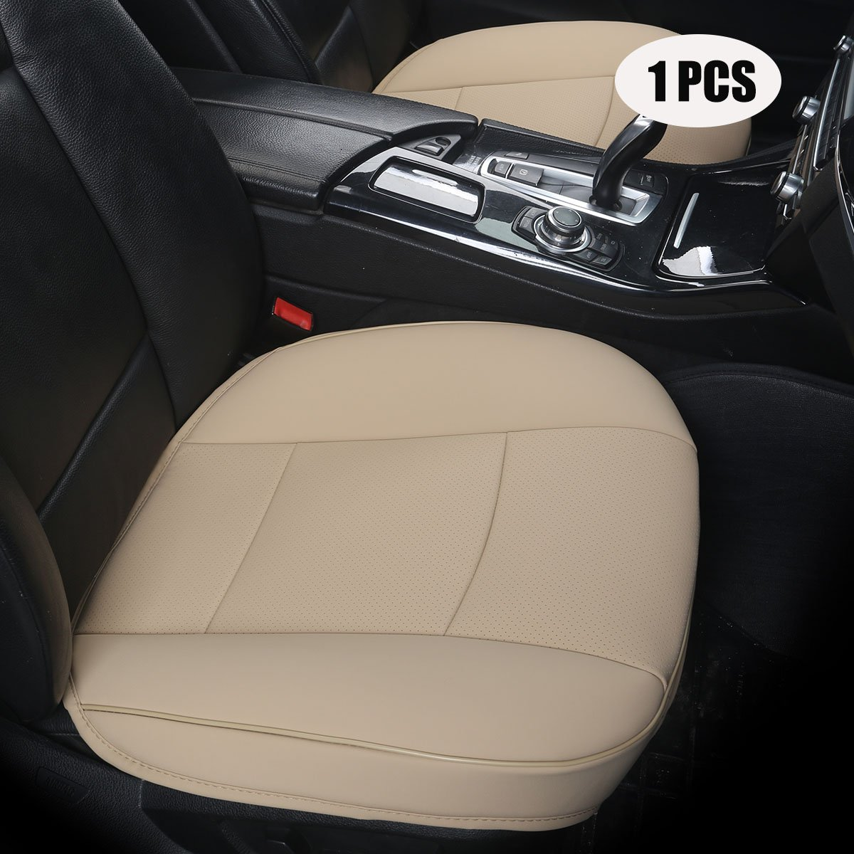 2 PCS Beige - no Charcoal 2PCS Driver and Passenger Seat Cover PU Leather Seat Covers Universal Car Seat Cover Front Seat Protector Fit Most Sedans /&Truck /&SUV EDEALYN