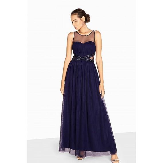 deae9907b40 Little Mistress Womens Ladies Katie Jewel Waist Maxi Prom Dress (14 UK) ( Navy)  Amazon.co.uk  Clothing