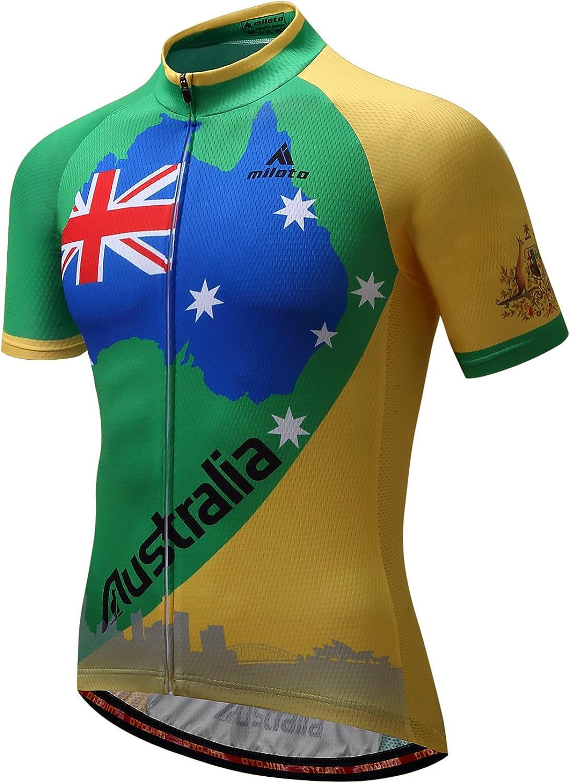 Men/'s Cycling Jersey Short Sleeve Full Zip T-Shirt Bicycle Clothing Bike Tops