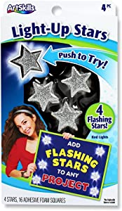 ArtSkills PA-1324 Silver Stick-On LED Light Up Flashing Stars for Posters, 4ct