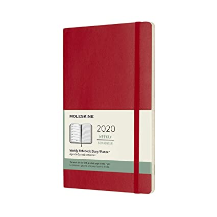 Moleskine - Agenda Semanal de 12 Meses 2020, Tapa Blanda y Goma Elástica, Color Rojo Escarlata, Tamaño Grande 13 x 21 cm, 144 Páginas