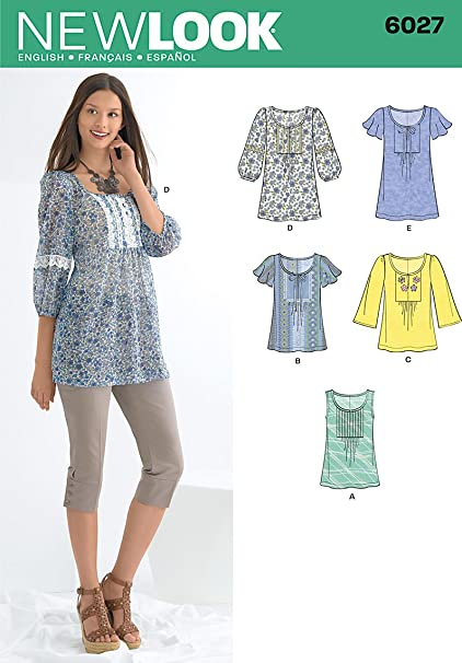 Amazon New Look Sewing Pattern 6027 Misses Tunic Or Tops Size