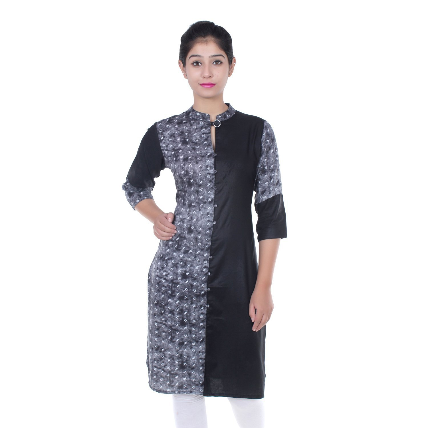 Chichi Indian Women Kurta Kurti 3/4 Sleeve Medium Size Plain with One Side Printed Straight Black-White Top by CHI (Image #1)
